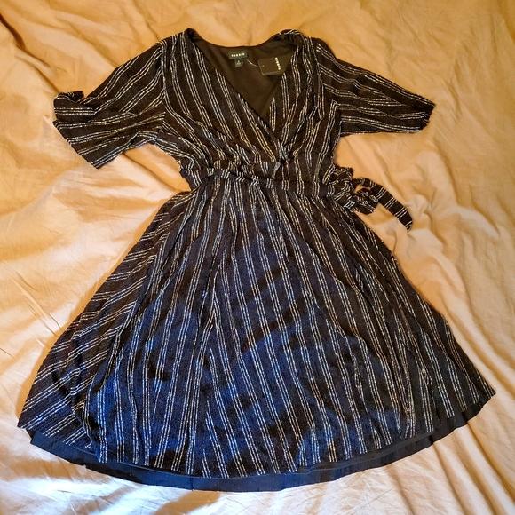 Torrid Black Silver Glitter Stripe Wrap Dress